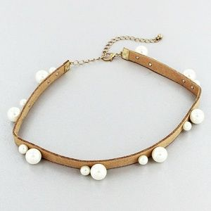 SALE! PEARL ACCENTED NATURAL FAUX SUEDE CHOKER